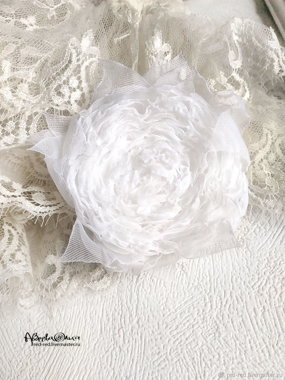 White Fabric Flowers Brooch Hairpin Shop Online On Livemaster