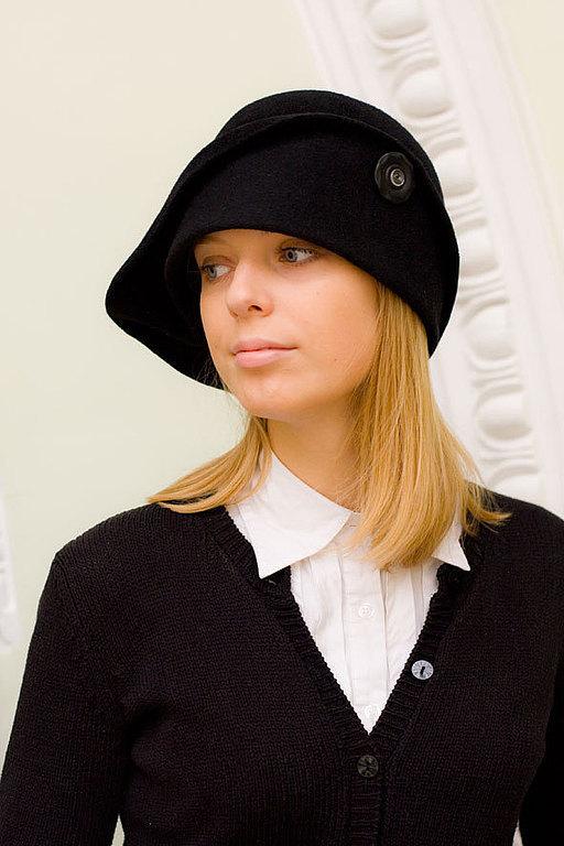 Шляпы ручной работы. Ярмарка Мастеров - ручная работа. Купить Шляпа клош черный. Handmade. Черный, велюр