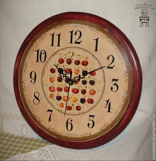 """Часы для дома ручной работы. Ярмарка Мастеров - ручная работа. Купить Часы """"Черешня"""". Handmade. Бордовый, аппетитный, часы для дома"""