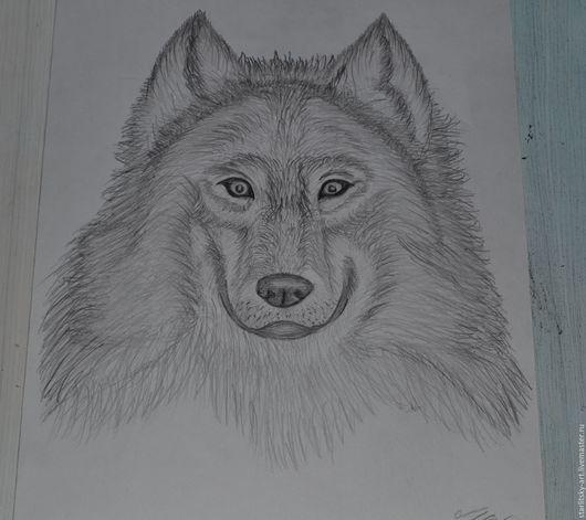 Животные ручной работы. Ярмарка Мастеров - ручная работа. Купить Картина в карандаше Волк. Handmade. Чёрно-белый, картина в подарок