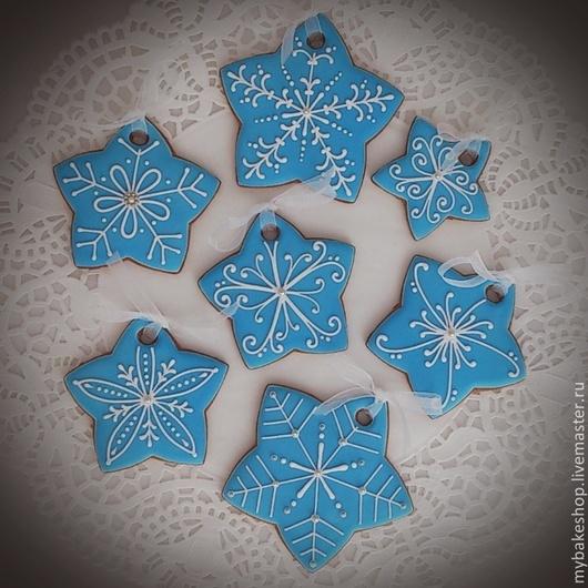"""Кулинарные сувениры ручной работы. Ярмарка Мастеров - ручная работа. Купить """"Christmas stars"""" набор новогодних пряников - козуль. Handmade."""