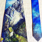 """Аксессуары ручной работы. Ярмарка Мастеров - ручная работа галстук батик  шелковый  """"Альпы"""". Handmade."""
