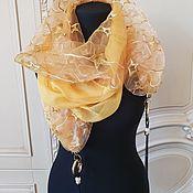 Шарфы ручной работы. Ярмарка Мастеров - ручная работа Шарф-колье 1730 шелк желтый. Handmade.