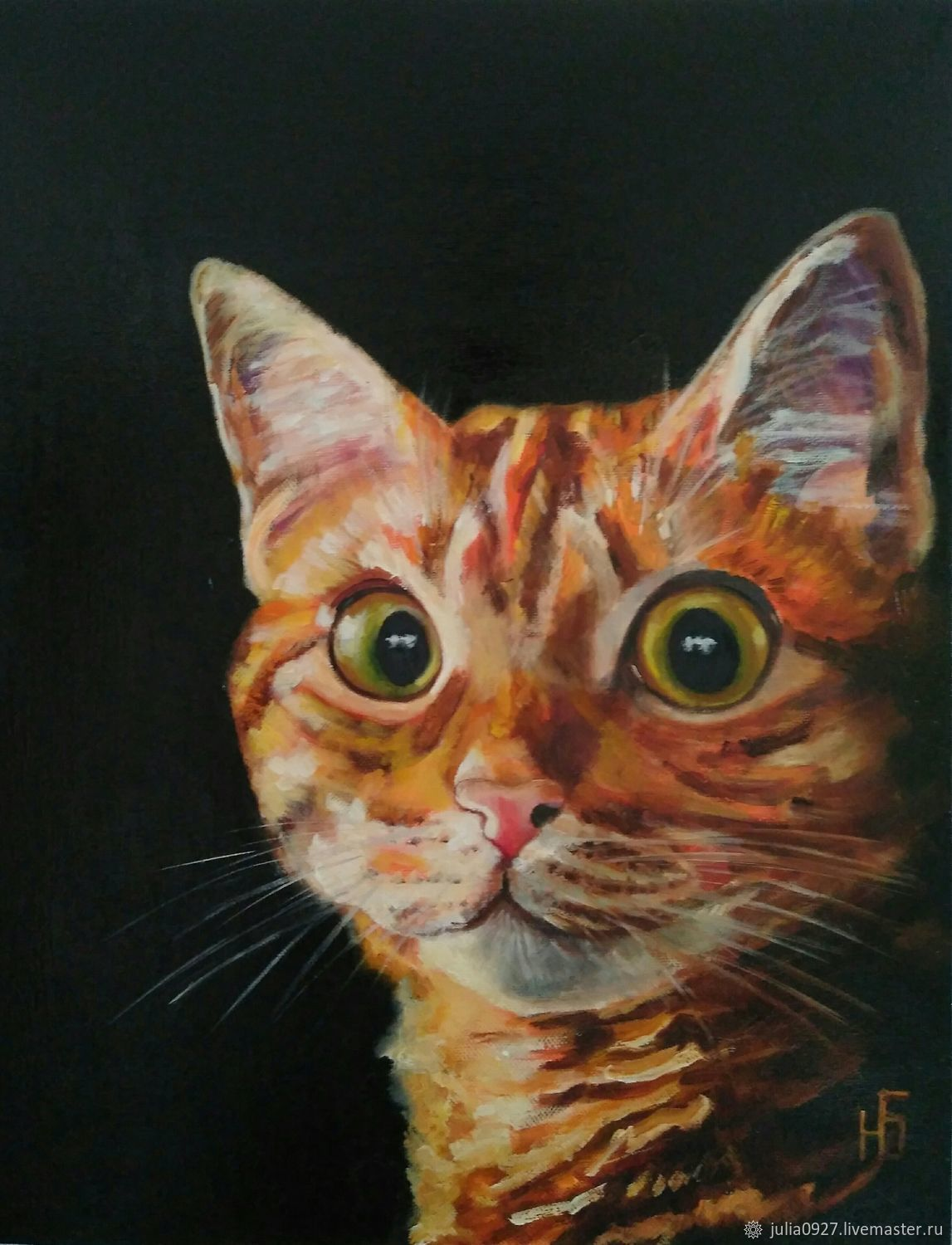 Oil painting red cat on black background on canvas, Pictures, Ekaterinburg,  Фото №1