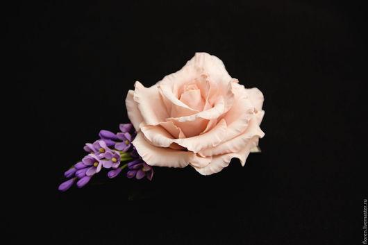 Заколки ручной работы. Ярмарка Мастеров - ручная работа. Купить Заколка- брошь с розой и сиренью. Handmade. Бледно-розовый