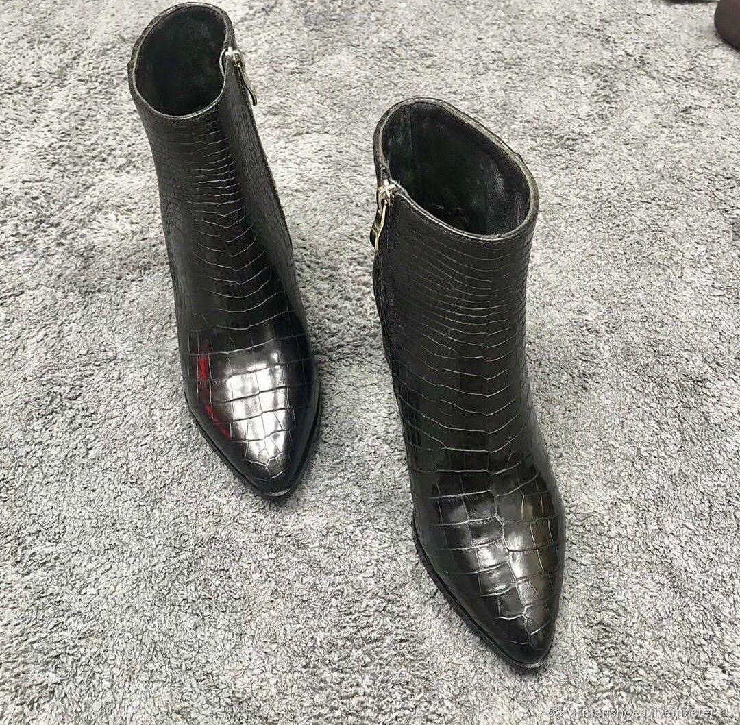 Полусапожки, женские из кожи крокодила,чёрный цвет, Обувь, Тосно, Фото №1