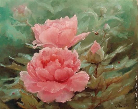 """Картины цветов ручной работы. Ярмарка Мастеров - ручная работа. Купить Картина маслом """"Розовые пионы"""". Handmade. Мятный"""