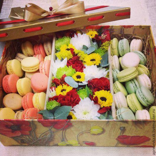 Персональные подарки ручной работы. Ярмарка Мастеров - ручная работа. Купить Подарочные коробочки  с цветами и печеньем. Handmade. Сиреневый, цветы