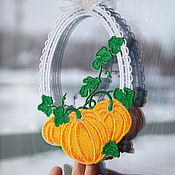 Для дома и интерьера handmade. Livemaster - original item The decoration on the window of the Autumn pumpkin.. Handmade.