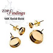 3 размера золото 14К основы  для пуссет с круглым кабошоном 610014K