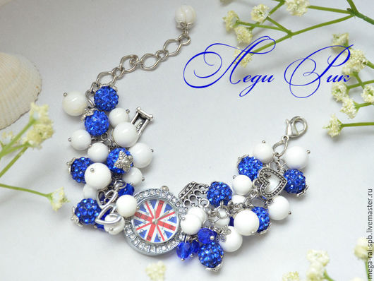 """Часы ручной работы. Ярмарка Мастеров - ручная работа. Купить Часы"""" Лондон"""" белый коралл. Handmade. Синий, ярко-синий"""