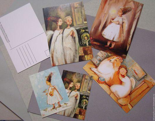 Открытки с ангелами ручной работы на Ярмарке Мастеров.Купить набор открыток с ангелами хранителями.Открытки набор 3 шт.Handmade