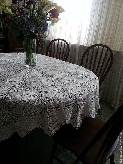 Текстиль, ковры ручной работы. Ярмарка Мастеров - ручная работа круглая вязанная ажурная скатерть. Handmade.
