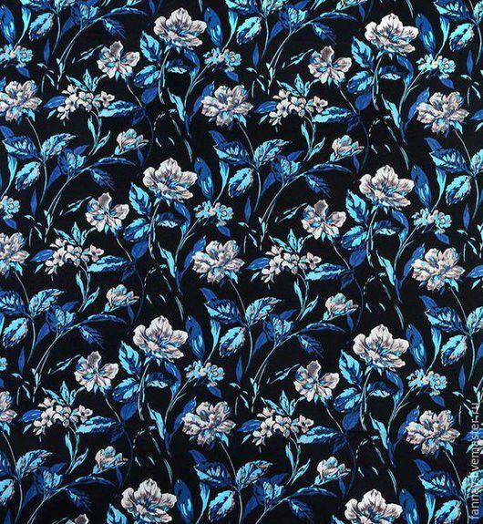 Шитье ручной работы. Ярмарка Мастеров - ручная работа. Купить Хлопок_Цветы. Handmade. Черный, синий, лиловый, голубой, платье, жакет