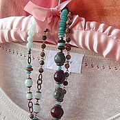 Украшения handmade. Livemaster - original item Long necklace made of natural stones-MINT AND CHOCOLATE. Handmade.