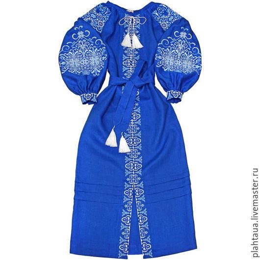 """Платья ручной работы. Ярмарка Мастеров - ручная работа. Купить Длинное платье """"Ледяная Красавица"""". Handmade. Синий, льняное платье"""