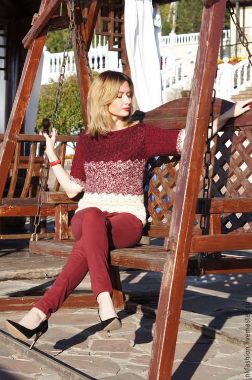 Кофты и свитера ручной работы. Ярмарка Мастеров - ручная работа. Купить Свитшот. Handmade. Разноцветный, вязанный крючком, одежда для женщин