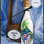 Бутылки ручной работы. Ярмарка Мастеров - ручная работа Вино из одуванчиков. Свадебные бутылки. Handmade.