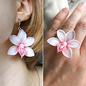 Украшения handmade. Livemaster - original item Jewelry set, earrings and ring, white orchid, polymer clay. Handmade.