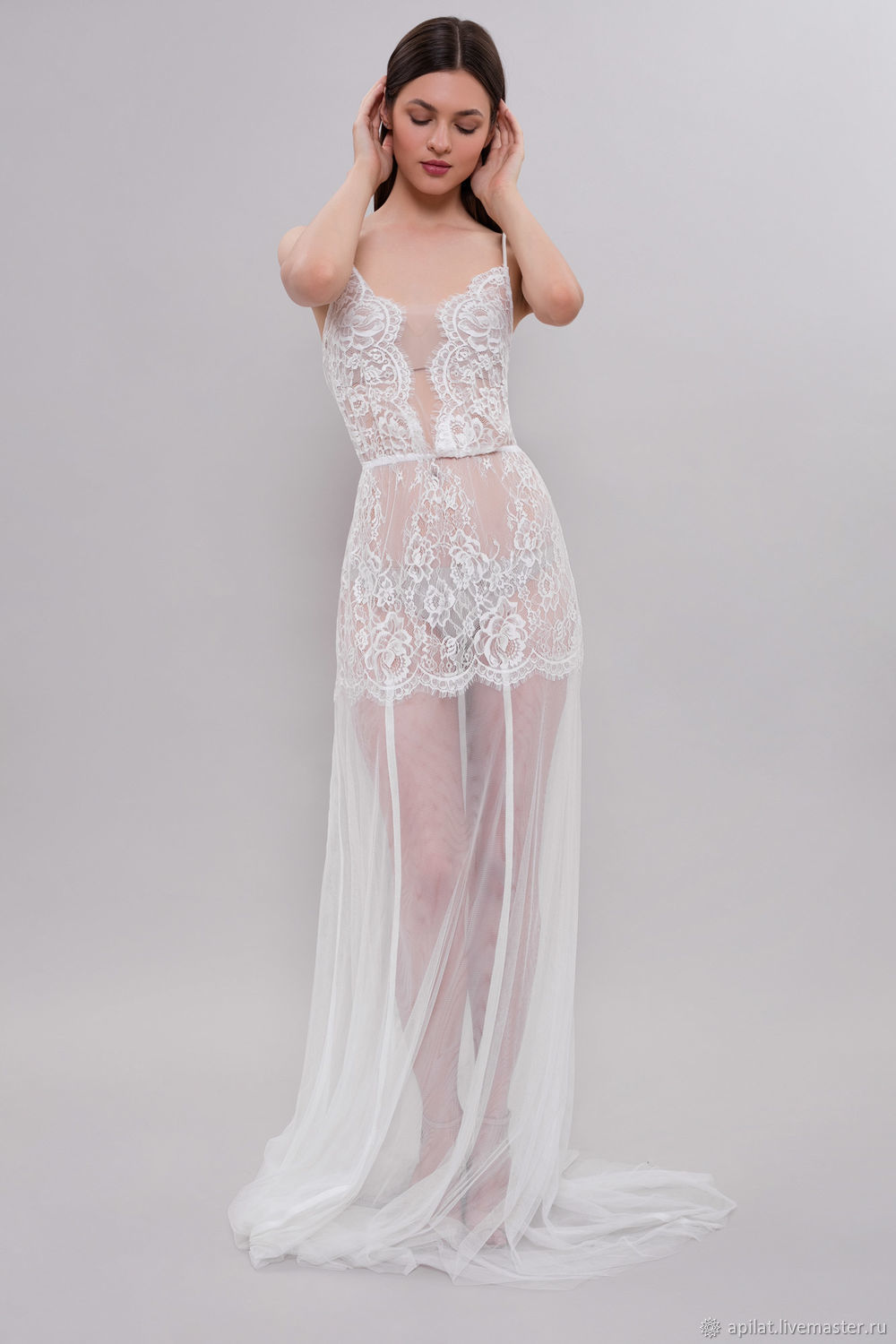 Long Tulle Bridal Nightgown With Lace F31(Lingerie), Bridal Lingerie ...