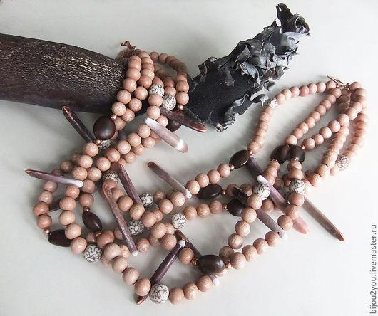 Колье, бусы ручной работы. Ярмарка Мастеров - ручная работа. Купить Luxe ethnic. Handmade. Кремовый, легкий, деревянные бусины