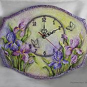 Для дома и интерьера ручной работы. Ярмарка Мастеров - ручная работа Объемные часы с ирисами (работа отложена). Handmade.