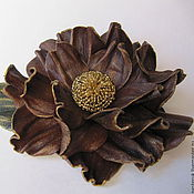 Украшения handmade. Livemaster - original item Brooch, barrette, flower leather. Handmade.