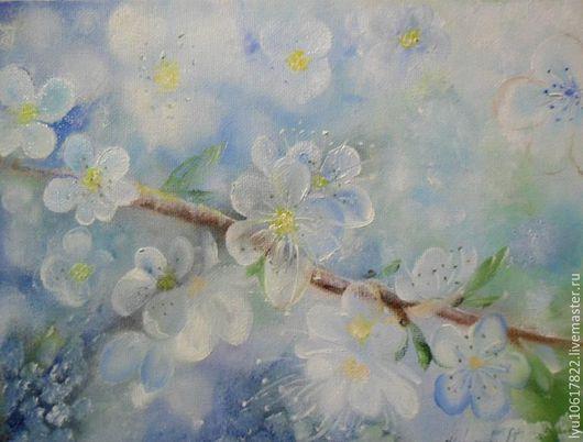 Картины цветов ручной работы. Ярмарка Мастеров - ручная работа. Купить Маленькая картина для души Весна..... Handmade. Голубой