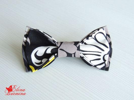 Галстуки, бабочки ручной работы. Ярмарка Мастеров - ручная работа. Купить Бабочка галстук черно-серая, хлопок. Handmade. Абстрактный