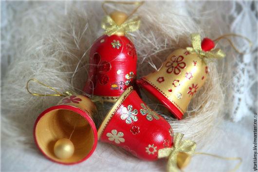 """Новый год 2017 ручной работы. Ярмарка Мастеров - ручная работа. Купить Колокольчики """"Rеd&Gold"""". Handmade. Ярко-красный, новый год 2016"""