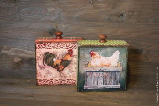 Кухня ручной работы. Ярмарка Мастеров - ручная работа. Купить Набор короба для специй Курица и петух. Handmade. Разноцветный, фермуар