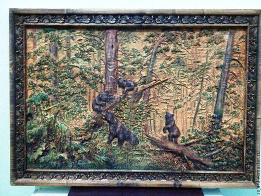 Репродукции ручной работы. Ярмарка Мастеров - ручная работа. Купить Мишки в лесу. Handmade. Дерево, сосна