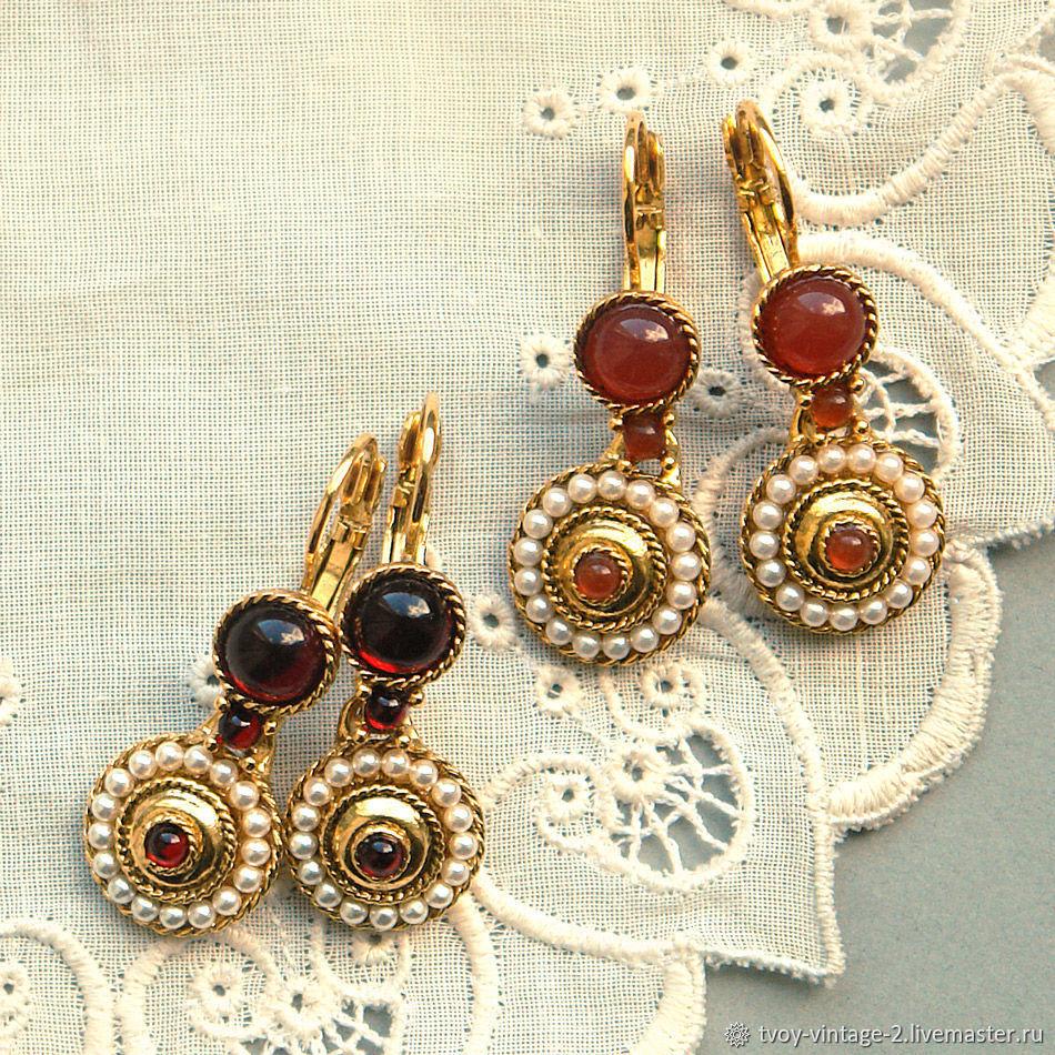 Винтаж: Позолоченные серьги фирмы 1928 Jewelry США сердолик гранат имитация, Серьги винтажные, Москва,  Фото №1