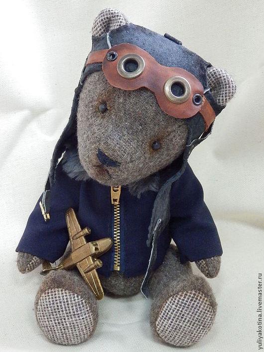 Мишки Тедди ручной работы. Ярмарка Мастеров - ручная работа. Купить Летчик. Handmade. Серый, пилот, опилки
