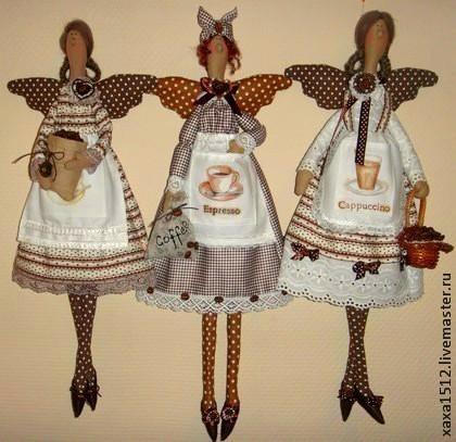 Куклы Тильды ручной работы. Ярмарка Мастеров - ручная работа. Купить Кофейная феюшка. Handmade. Коричневый, подарок, горошек, клетчатый