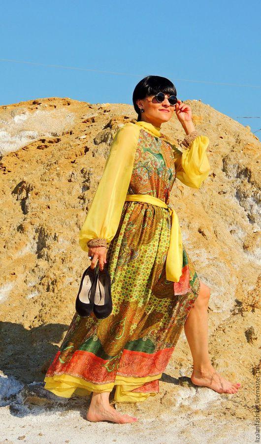Платья ручной работы. Ярмарка Мастеров - ручная работа. Купить Макси платье из шелка и шифона (№1). Handmade. Комбинированный