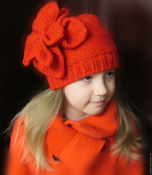 """Шапки ручной работы. Ярмарка Мастеров - ручная работа. Купить Шапочка для девочки """"Пион"""". Handmade. Ярко-красный, шапка на весну"""