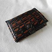 Сумки и аксессуары handmade. Livemaster - original item Men`s wallet genuine leather embossed CROCO. Handmade.