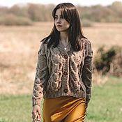 Одежда handmade. Livemaster - original item cardigans: Women`s knitted cardigan with beige hearts. Handmade.