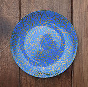 Посуда ручной работы. Ярмарка Мастеров - ручная работа ЗОЛОТАЯ БИРЮЗА декоративная тарелка. Handmade.