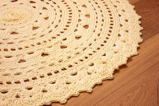 Текстиль, ковры ручной работы. Ярмарка Мастеров - ручная работа. Купить Коврик вязаный Сливочный. Handmade. Вязаный коврик