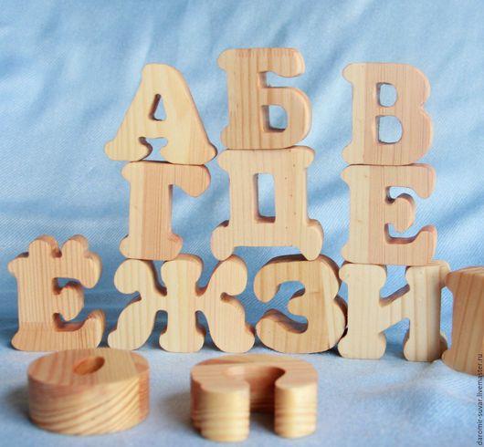 Развивающие игрушки ручной работы. Ярмарка Мастеров - ручная работа. Купить Алфавит деревянный из сосны (40 букв).. Handmade. Алфавит