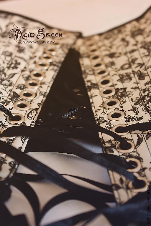 """Корсеты ручной работы. Ярмарка Мастеров - ручная работа. Купить Двухсторонний пояс-корсет """"Dried Flowers"""". Handmade. Черный, корсет"""