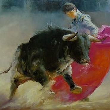 """Картины и панно ручной работы. Ярмарка Мастеров - ручная работа Картина маслом """"Испания. Тореадор и бык"""" для мужчины. Handmade."""