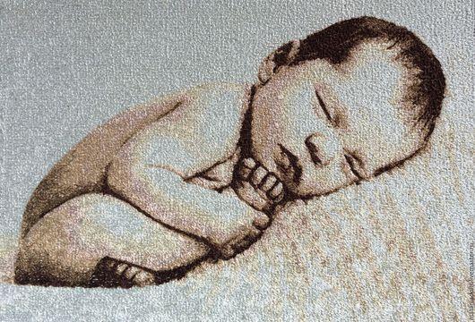 """Детская ручной работы. Ярмарка Мастеров - ручная работа. Купить Картина метрика вышитая """"Я родился"""". Handmade. Золотой"""