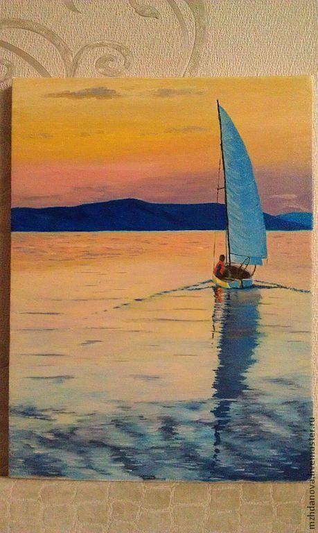 Пейзаж ручной работы. Ярмарка Мастеров - ручная работа. Купить Закат на озере. Handmade. Бежевый, закат, романтика, лето, небо