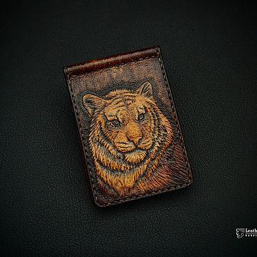 Сумки и аксессуары ручной работы. Ярмарка Мастеров - ручная работа Зажим для денег с тигром. Handmade.