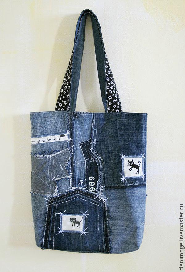 b3469bf9 Handmade ручной работы. Джинсовая сумка с котами. Мастерская Denim Age.  Интернет-магазин Ярмарка