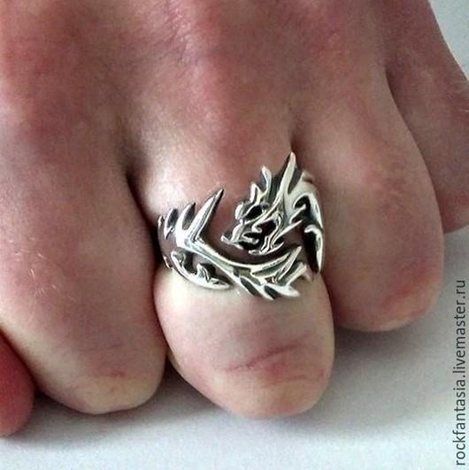 Кольца ручной работы. Ярмарка Мастеров - ручная работа. Купить Серебряное кольцо Дракон Волк, кольцо с драконом волком. Handmade.