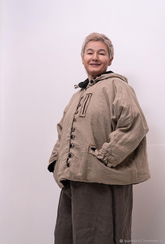 Льняная куртка с флисовой подкладкой с капюшоном, Куртки, Москва,  Фото №1